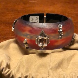 Alexis bittar Large wide bangle with crystals